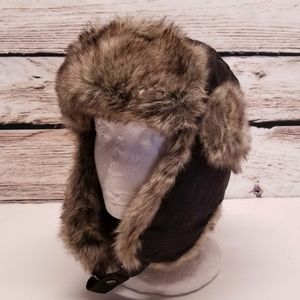 H&M Mens Brown Trapper Hat Faux Fur Quilted Warm